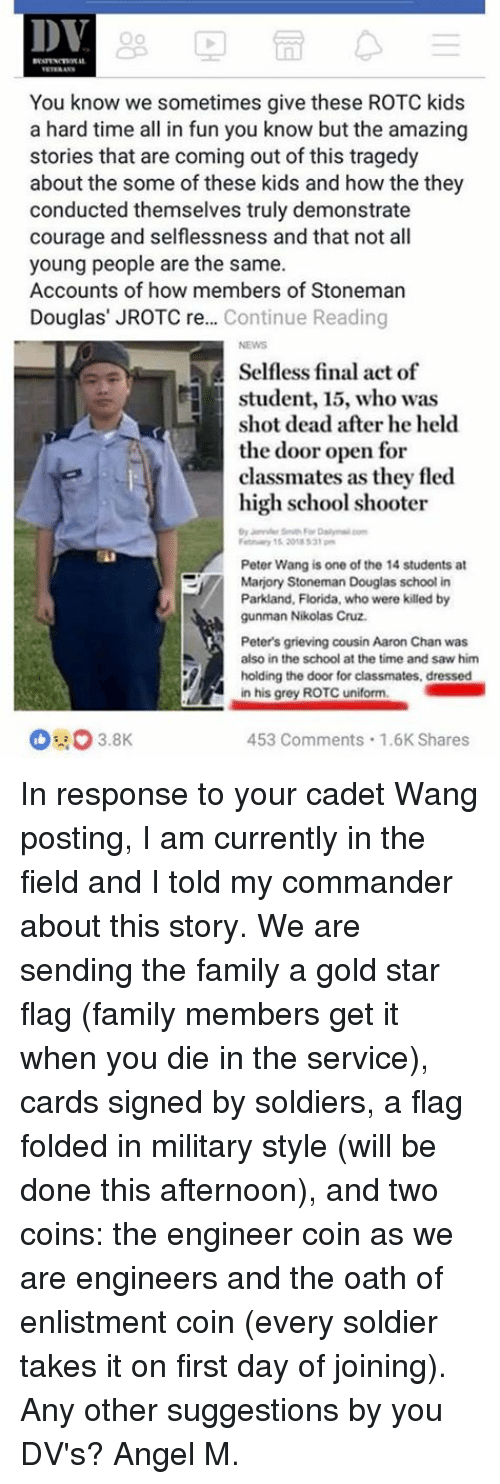 JROTC cadet Peter Wang sacrificed himself to save dozens during Florida shooting recommendations