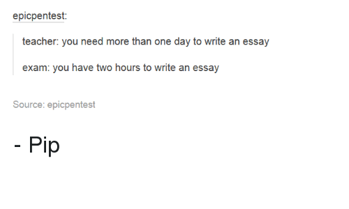need to write an essay in one day