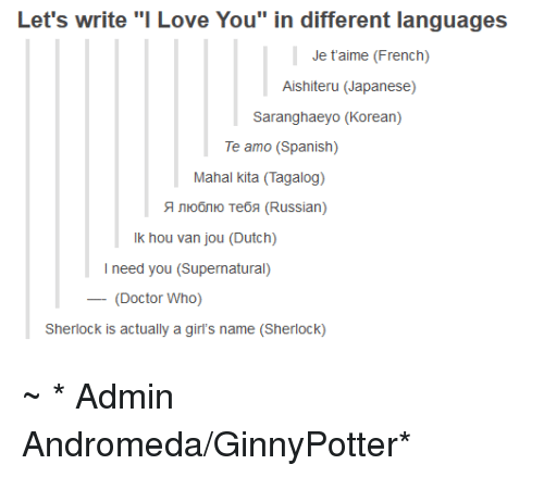 Love written in different languages