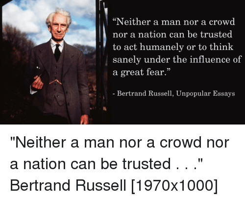 bertrand russell essays on fear