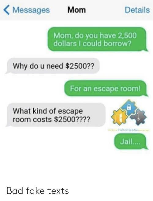 What Kind Of: < Messages  Details  Mom  Mom, do you have 2,500  dollars I could borrow?  Why do u need $2500??  For an escape room!  What kind of escape  room costs $2500????  Jail.. Bad fake texts