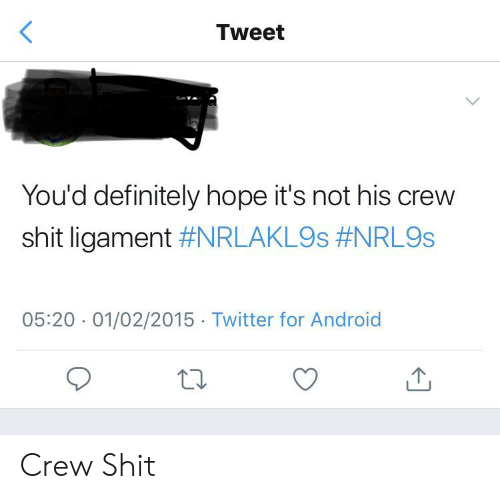 ligament: <  Tweet  You'd definitely hope it's not his crew  shit ligament #NRLAKL9S #NRL9S  05:20 01/02/2015 Twitter for Android  L. Crew Shit