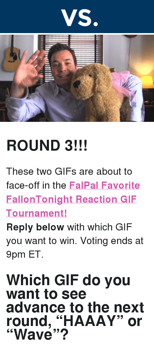 "reaction gifs: <h2><b>ROUND 3!!!</b></h2><p>These two GIFs are about to face-off in the <b><a href=""http://fallontonight.tumblr.com/post/127481560657/this-week-8-reaction-gifs-are-going-head-to-head"" target=""_blank"">FalPal Favorite FallonTonight Reaction GIF Tournament!</a></b></p><p><b>Reply below</b> with which GIF you want to win. Voting ends at 9pm ET.</p><h2>Which GIF do you want to see advance to the next round, ""HAAAY"" or ""Wave""?  </h2>"