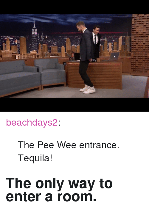 """pee wee: <p><a class=""""tumblr_blog"""" href=""""http://beachdays2.tumblr.com/post/128810623517"""" target=""""_blank"""">beachdays2</a>:</p> <blockquote> <p>The Pee Wee entrance. Tequila! </p> </blockquote>  <h2>The only way to enter a room.</h2>"""