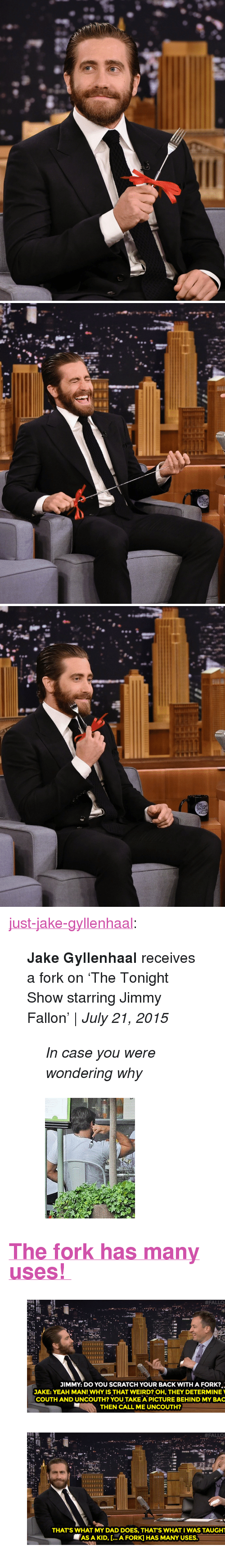 "tonight show starring jimmy fallon: <p><a class=""tumblr_blog"" href=""http://just-jake-gyllenhaal.tumblr.com/post/124701668770"" target=""_blank"">just-jake-gyllenhaal</a>:</p> <blockquote> <p></p> <p><b>Jake Gyllenhaal </b>receives a fork on 'The Tonight Show starring Jimmy Fallon' 