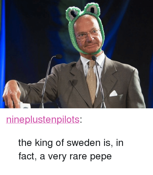 "Rare Pepe: <p><a class=""tumblr_blog"" href=""http://nineplustenpilots.tumblr.com/post/126200334599"">nineplustenpilots</a>:</p>  <blockquote> <p>the king of sweden is, in fact, a very rare pepe</p> </blockquote>"