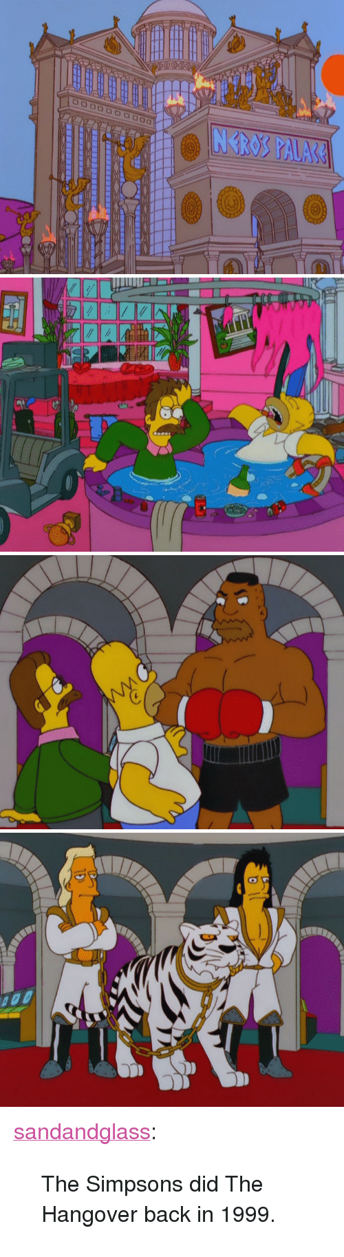 """The Hangover: <p><a class=""""tumblr_blog"""" href=""""http://sandandglass.tumblr.com/post/55601547853"""" target=""""_blank"""">sandandglass</a>:</p> <blockquote> <p>The Simpsons did The Hangover back in 1999.</p> </blockquote>"""