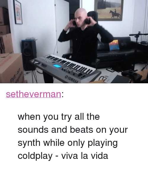 "the sounds: <p><a class=""tumblr_blog"" href=""http://setheverman.tumblr.com/post/138105207523"">setheverman</a>:</p> <blockquote> <p>when you try all the sounds and beats on your synth while only playing coldplay - viva la vida</p> </blockquote>"