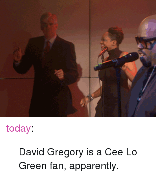"""cee lo green: <p><a class=""""tumblr_blog"""" href=""""http://today.tumblr.com/post/38384253165/david-gregory-is-a-cee-lo-green-fan-apparently"""" target=""""_blank"""">today</a>:</p> <blockquote> <div> <p>David Gregory is a Cee Lo Green fan, apparently.</p> </div> </blockquote>"""