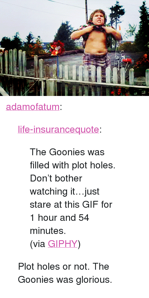 "goonies: <p><a href=""http://adamofatum.tumblr.com/post/155876376257/life-insurancequote-the-goonies-was-filled-with"" class=""tumblr_blog"">adamofatum</a>:</p> <blockquote> <p><a href=""http://life-insurancequote.tumblr.com/post/153971098030/the-goonies-was-filled-with-plot-holes-dont"" class=""tumblr_blog"">life-insurancequote</a>:</p>  <blockquote> <p>The Goonies was filled with plot holes.  Don't bother watching it…just stare at this GIF for 1 hour and 54 minutes. <br/></p> <p>(via <a href=""http://gph.is/1lMHadt"">GIPHY</a>) </p> </blockquote>  <p>Plot holes or not. The Goonies was glorious.</p> </blockquote>"