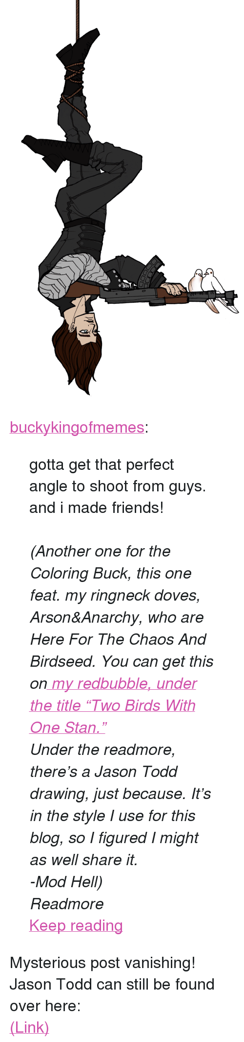 """doves: <p><a href=""""http://buckykingofmemes.tumblr.com/post/164429939636/gotta-get-that-perfect-angle-to-shoot-from-guys"""" class=""""tumblr_blog"""">buckykingofmemes</a>:</p> <blockquote> <p>gotta get that perfect angle to shoot from guys. and i made friends!</p> <p><br/></p> <p><i>(Another one for the Coloring Buck, this one feat. my ringneck doves, Arson&amp;Anarchy, who are Here For The Chaos And Birdseed. You can get this on<a href=""""https://www.redbubble.com/people/buckykingofmeme?asc=u""""> my redbubble, under the title""""Two Birds With One Stan.""""</a></i></p> <p><i>Under the readmore, there's a Jason Todd drawing, just because. It's in the style I use for this blog, so I figured I might as well share it.</i></p> <p><i>-Mod Hell)</i></p> <p><i>Readmore</i></p> <p><a href=""""http://buckykingofmemes.tumblr.com/post/164429939636/gotta-get-that-perfect-angle-to-shoot-from-guys"""" class=""""tmblr-truncated-link read_more"""">Keep reading</a></p> </blockquote> <p>Mysterious post vanishing! Jason Todd can still be found over here:</p><p><a href=""""http://hellenhighwater.tumblr.com/post/164429454415/jason-todd-i-recently-ish-followed"""">(Link)</a></p>"""