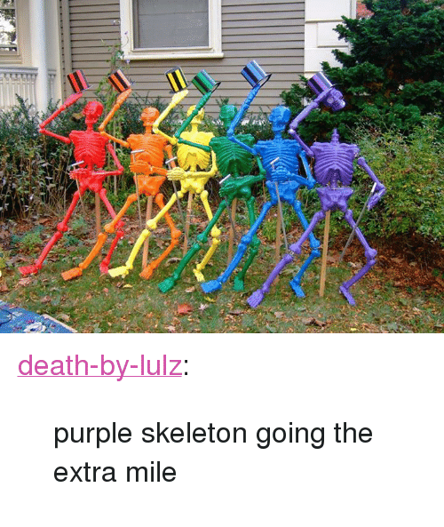 """lulz: <p><a href=""""http://dbl.1000notes.com/post/98563669300/purple-skeleton-going-the-extra-mile"""" class=""""tumblr_blog"""" target=""""_blank"""">death-by-lulz</a>:</p> <blockquote><p>purple skeleton going the extra mile</p></blockquote>"""