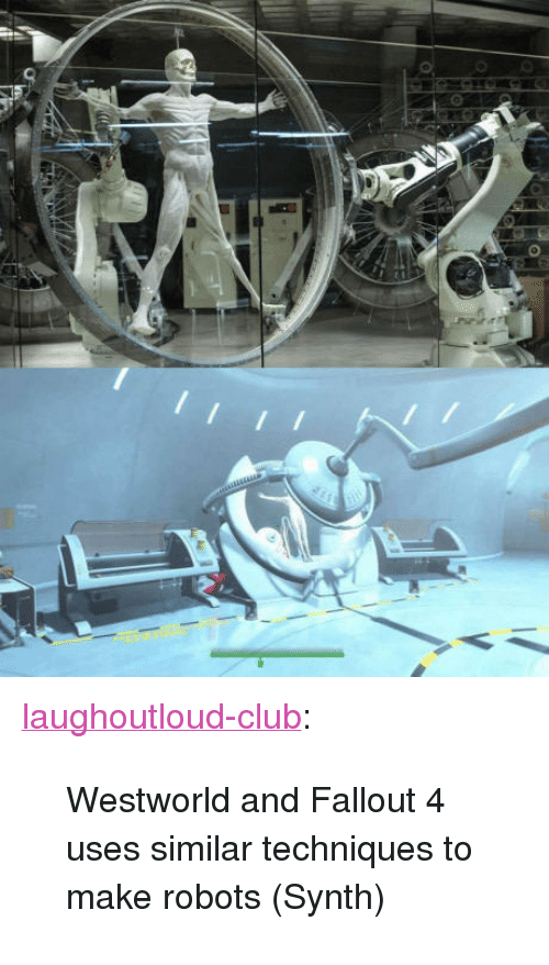 "Westworld: <p><a href=""http://laughoutloud-club.tumblr.com/post/160151809228/westworld-and-fallout-4-uses-similar-techniques-to"" class=""tumblr_blog"">laughoutloud-club</a>:</p>  <blockquote><p>Westworld and Fallout 4 uses similar techniques to make robots (Synth)</p></blockquote>"