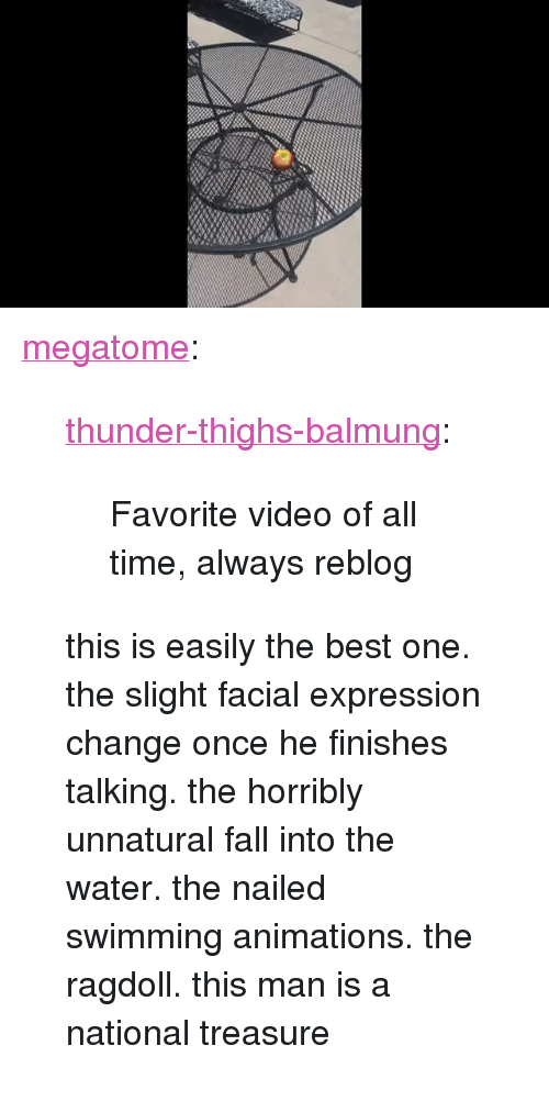 """facial-expression: <p><a href=""""http://megatome.tumblr.com/post/167339427966/thunder-thighs-balmung-favorite-video-of-all"""" class=""""tumblr_blog"""">megatome</a>:</p> <blockquote> <p><a href=""""http://thunder-thighs-balmung.tumblr.com/post/167248901431/favorite-video-of-all-time-always-reblog"""" class=""""tumblr_blog"""">thunder-thighs-balmung</a>:</p> <blockquote><p>Favorite video of all time,  always reblog</p></blockquote> <p>this is easily the best one. the slight facial expression change once he finishes talking. the horribly unnatural fall into the water. the nailed swimming animations.   the ragdoll. this man is a national treasure<br/></p> </blockquote>"""