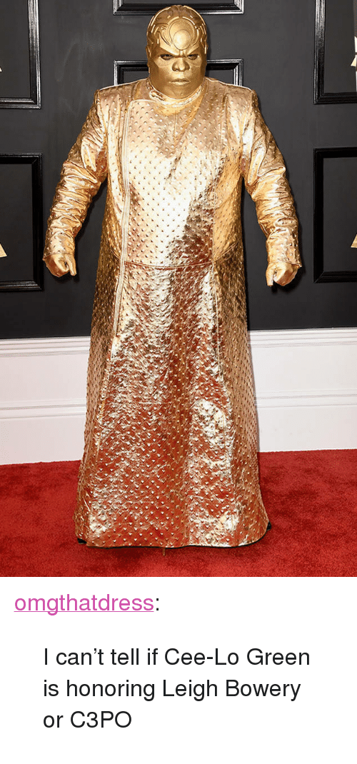 """cee lo green: <p><a href=""""http://omgthatdress.tumblr.com/post/157168492680/i-cant-tell-if-cee-lo-green-is-honoring-leigh"""" class=""""tumblr_blog"""">omgthatdress</a>:</p>  <blockquote><p>I can't tell if Cee-Lo Green is honoring Leigh Bowery or C3PO</p></blockquote>"""
