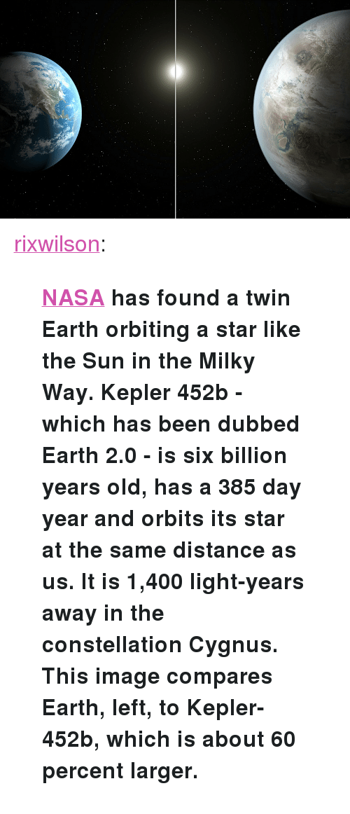 """kepler: <p><a href=""""http://rixwilson.tumblr.com/post/124957997642/nasa-has-found-a-twin-earth-orbiting-a-star-like"""">rixwilson</a>:</p>  <blockquote><p><b><a href=""""https://www.nasa.gov/ames/kepler/nasas-kepler-discovers-first-earth-size-planet-in-the-habitable-zone-of-another-star"""">  NASA</a> has found a twin Earth orbiting a star like the Sun in the Milky Way. Kepler 452b - which has been dubbed Earth 2.0 - is six billion years old, has a 385 day year and orbits its star at the same distance as us. It is 1,400 light-years away in the constellation Cygnus. This image compares Earth, left, to Kepler-452b, which is about 60 percent larger.</b></p></blockquote>"""