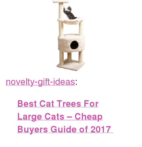 """Best Cat: <p><a href=""""https://novelty-gift-ideas.tumblr.com/post/160625376213/best-cat-trees-for-large-cats-cheap-buyers-guide"""" class=""""tumblr_blog"""">novelty-gift-ideas</a>:</p><blockquote><p><b><a href=""""https://www.consumerhubs.com/cat-trees-for-large-cats/"""">  Best Cat Trees For Large Cats – Cheap Buyers Guide of 2017  </a></b><br/></p></blockquote>"""