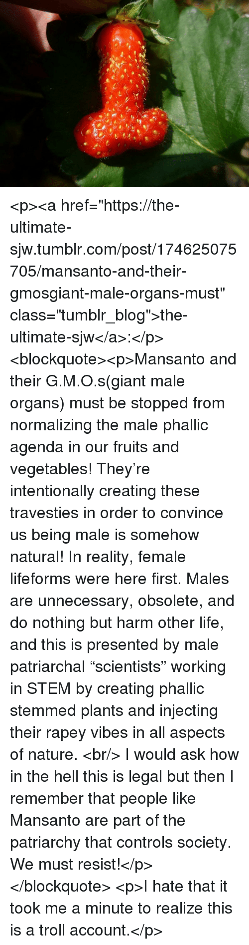 """Injecting: <p><a href=""""https://the-ultimate-sjw.tumblr.com/post/174625075705/mansanto-and-their-gmosgiant-male-organs-must"""" class=""""tumblr_blog"""">the-ultimate-sjw</a>:</p>  <blockquote><p>Mansanto and their G.M.O.s(giant male organs) must be stopped from normalizing the male phallic agenda in our fruits and vegetables! They're intentionally creating these travesties in order to convince us being male is somehow natural! In reality, female lifeforms were here first. Males are unnecessary, obsolete, and do nothing but harm other life, and this is presented by male patriarchal """"scientists"""" working in STEM by creating phallic stemmed plants and injecting their rapey vibes in all aspects of nature. <br/> I would ask how in the hell this is legal but then I remember that people like Mansanto are part of the patriarchy that controls society. We must resist!</p></blockquote>  <p>I hate that it took me a minute to realize this is a troll account.</p>"""
