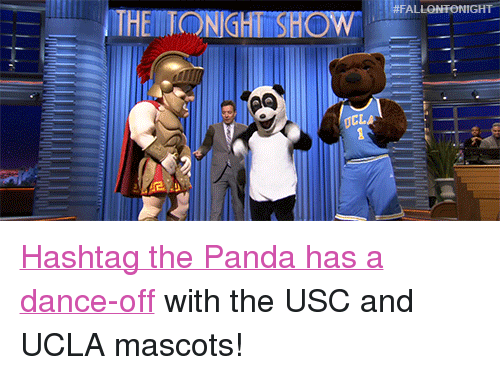 """USC: <p><a href=""""https://www.youtube.com/watch?v=d7xvwNXPQg8&amp;list=UU8-Th83bH_thdKZDJCrn88g"""" target=""""_blank"""">Hashtag the Panda has a dance-off</a> with the USC and UCLA mascots!</p>"""