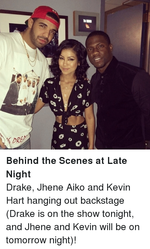 Jhene Aiko: <p><strong>Behind the Scenes at Late Night</strong></p> <p>Drake, Jhene Aiko and Kevin Hart hanging out backstage (Drake is on the show tonight, and Jhene and Kevin will be on tomorrow night)!</p>