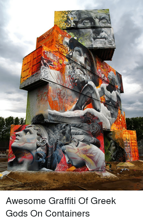 greek gods: <p>Awesome Graffiti Of Greek Gods On Containers</p>