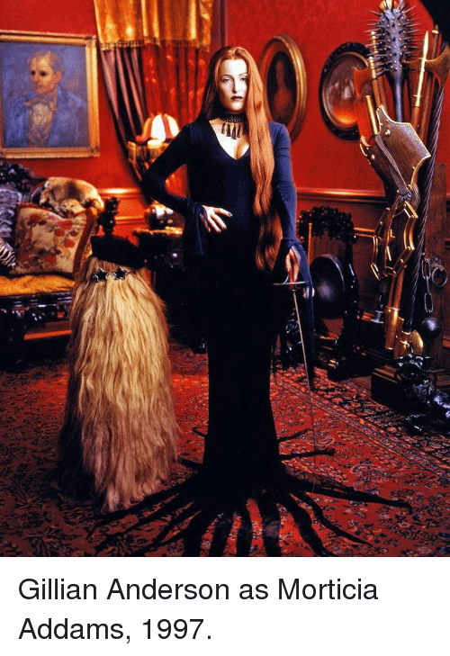 morticia addams: <p>Gillian Anderson as Morticia Addams, 1997.</p>