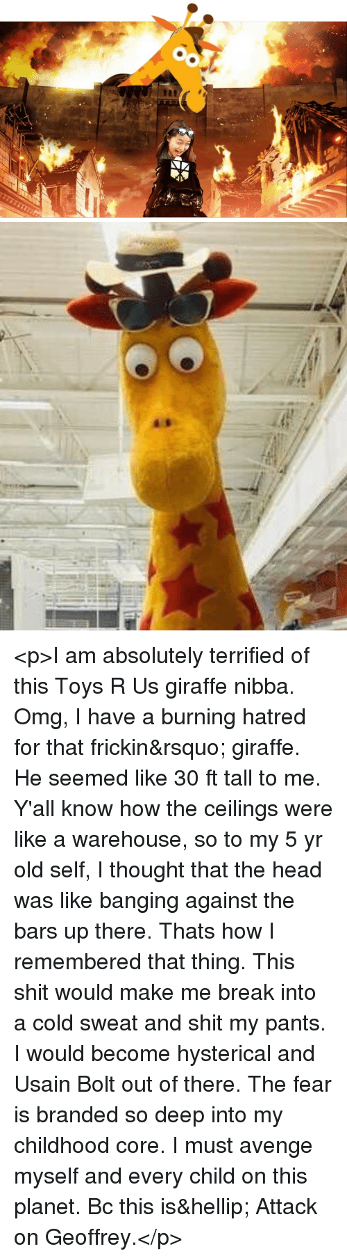 Usain Bolt: <p>I am absolutely terrified of this Toys R Us giraffe nibba. Omg, I have a burning hatred for that frickin&rsquo; giraffe. He seemed like 30 ft tall to me. Y'all know how the ceilings were like a warehouse, so to my 5 yr old self, I thought that the head was like banging against the bars up there. Thats how I remembered that thing. This shit would make me break into a cold sweat and shit my pants. I would become hysterical and Usain Bolt out of there. The fear is branded so deep into my childhood core. I must avenge myself and every child on this planet. Bc this is&hellip; Attack on Geoffrey.</p>