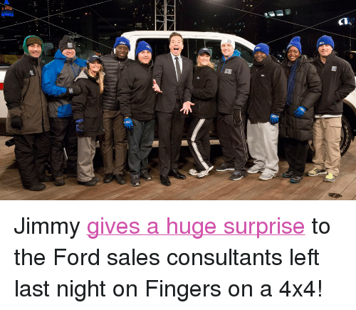 """Ford: <p>Jimmy <a href=""""https://www.youtube.com/watch?v=p5OxyQK0UlQ&amp;list=UU8-Th83bH_thdKZDJCrn88g"""" title=""""gives a huge surprise"""" target=""""_blank"""">gives a huge surprise</a> to the Ford sales consultants left last night on Fingers on a 4x4!</p>"""