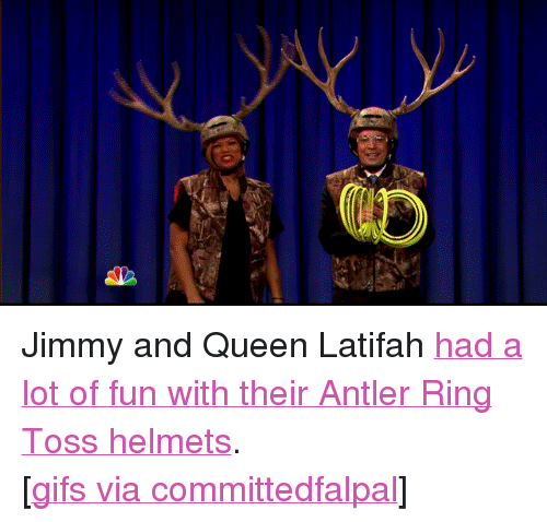 """ring toss: <p>Jimmy and Queen Latifah <a href=""""http://www.youtube.com/watch?v=7NGIjWn2lcU"""" target=""""_blank"""">had a lot of fun with their Antler Ring Toss helmets</a>.</p> <p>[<a href=""""http://committedfalpal.tumblr.com/post/73265190473/late-night-with-jimmy-fallon-1-13-2014"""" target=""""_blank"""">gifs via committedfalpal</a>]</p>"""