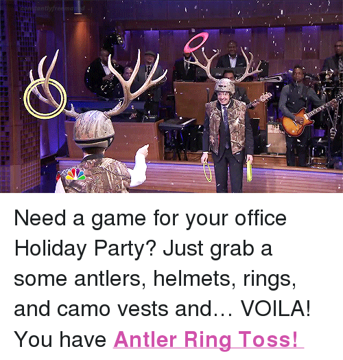 """ring toss: <p>Need a game for your office Holiday Party? Just grab a some antlers, helmets, rings, and camo vests and&hellip; VOILA! You have <a href=""""https://www.youtube.com/watch?v=uychr_p2Wo4"""" target=""""_blank""""><strong>Antler Ring Toss!</strong></a></p>"""