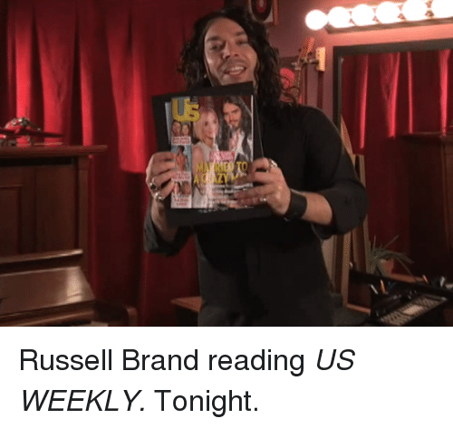 Russell Brand: <p>Russell Brand reading <em>US WEEKLY. </em>Tonight.</p>