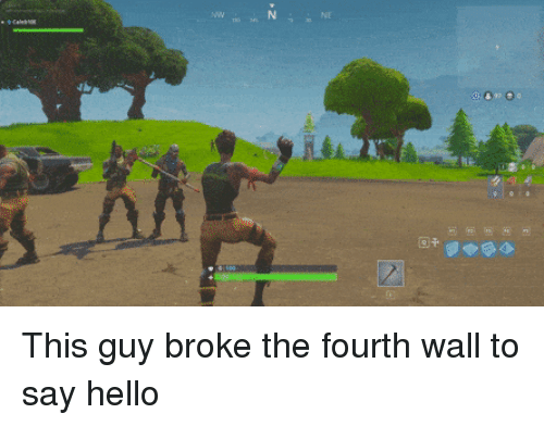 fourth wall: <p>This guy broke the fourth wall to say hello</p>