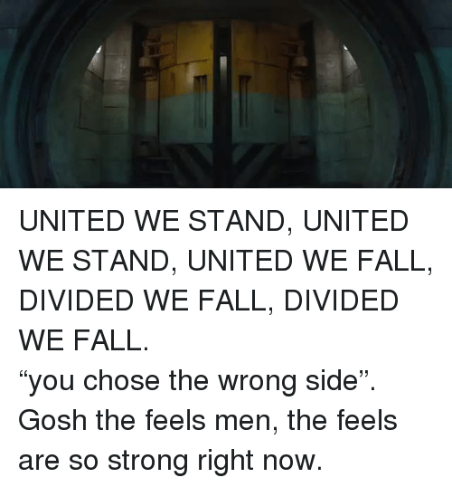 "United We Stand: <p>UNITED WE STAND, UNITED WE STAND, UNITED WE FALL, DIVIDED WE FALL, DIVIDED WE FALL. </p>  <p>""you chose the wrong side"". </p>  <p>Gosh the feels men, the feels are so strong right now.</p>"
