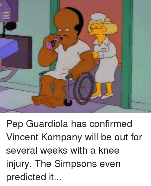 knee injury: í Pep Guardiola has confirmed Vincent Kompany will be out for several weeks with a knee injury.  The Simpsons even predicted it...