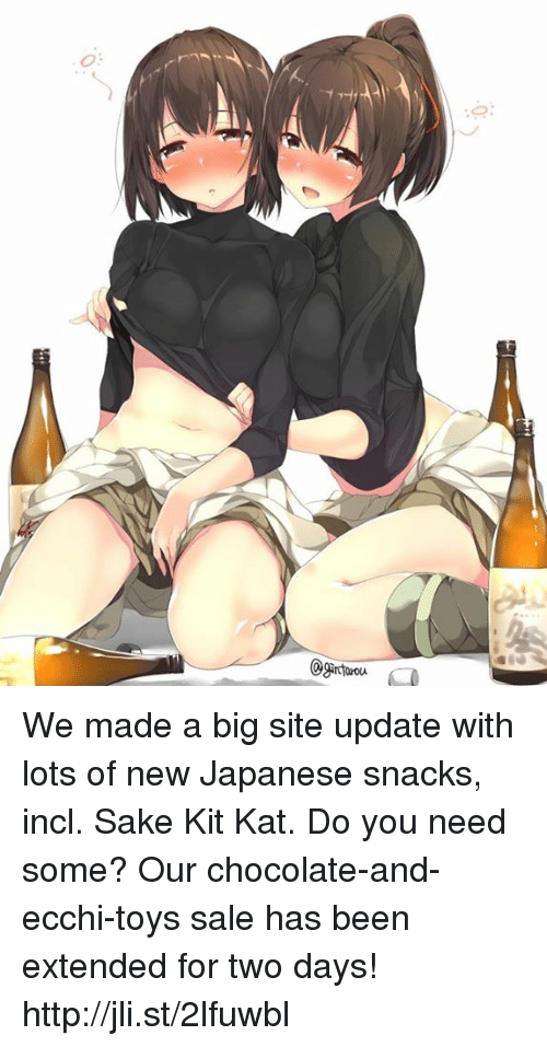 kat: ó:  Ogar tarou (e We made a big site update with lots of new Japanese snacks, incl. Sake Kit Kat. Do you need some? Our chocolate-and-ecchi-toys sale has been extended for two days!  http://jli.st/2lfuwbl