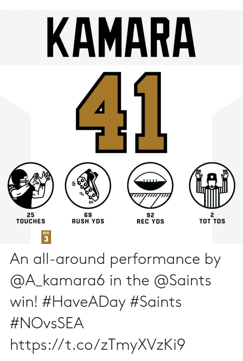 tos: КАMARA  41  25  TOUCHES  69  RUSH YDS  92  REC YDS  тот TOS  WK  3 An all-around performance by @A_kamara6 in the @Saints win! #HaveADay #Saints #NOvsSEA https://t.co/zTmyXVzKi9