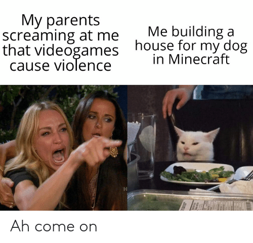 building a: Мy parents  screaming at me  that videogames  cause violence  Me building a  house for my dog  in Minecraft Ah come on