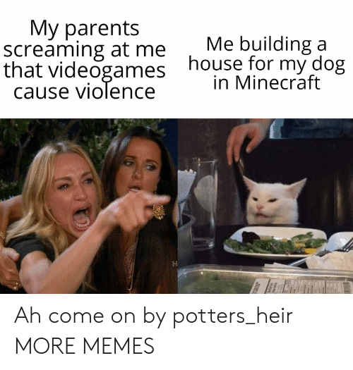 building a: Мy parents  screaming at me  that videogames  cause violence  Me building a  house for my dog  in Minecraft Ah come on by potters_heir MORE MEMES
