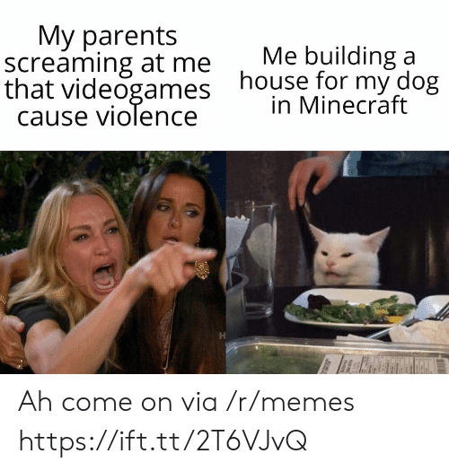 building a: Мy parents  screaming at me  that videogames  cause violence  Me building a  house for my dog  in Minecraft Ah come on via /r/memes https://ift.tt/2T6VJvQ