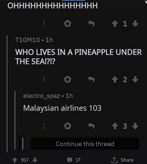 Pineapple: ОННННННННННННННН  1  T10M10 1h  WHO LIVES IN A PINEAPPLE UNDER  THE SEA!?!?  2  electro_spaz 1h  Malaysian airlines 103  t3  Continue this thread  917  17  Share