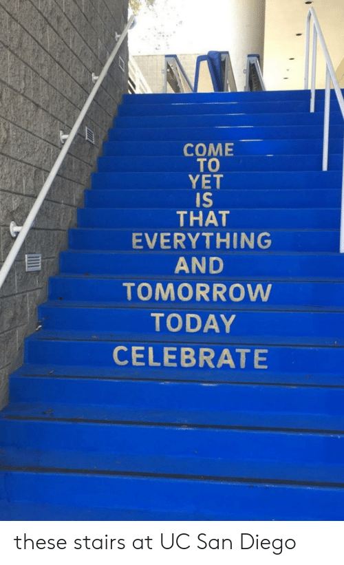 uc san diego: СOME  TO  YET  IS  THAT  EVERYTHING  AND  TOMORROW  TODAY  CELEBRATE these stairs at UC San Diego