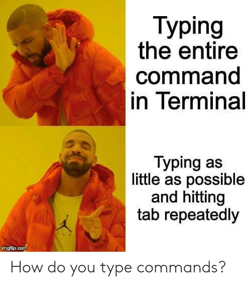 hitting: Тyping  the entire  command  in Terminal  Typing as  little as possible  and hitting  tab repeatedly  imgflip.com How do you type commands?