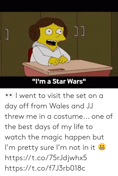 """costume: ונ  """"I'm a Star Wars"""" 👀 I went to visit the set on a day off from Wales and JJ threw me in a costume... one of the best days of my life to watch the magic happen but I'm pretty sure I'm not in it 😬 https://t.co/75rJdjwhx5 https://t.co/f7J3rb018c"""