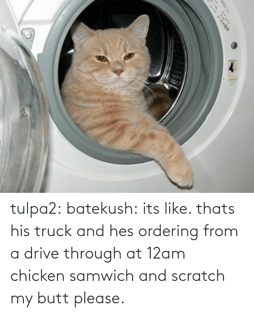 butt: |५ tulpa2: batekush: its like. thats his truck and hes ordering from a drive through at 12am chicken samwich and scratch my butt please.