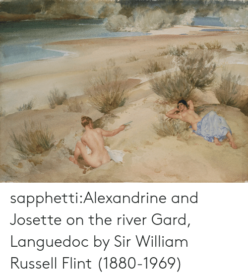 Russell: ১৯ sapphetti:Alexandrine and Josette on the river Gard, Languedoc by Sir William Russell Flint (1880-1969)