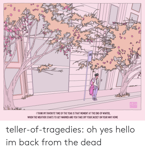 teller: ఇడిి  TELLER OF  TRAGEDIES  I THINK MY FAVORITE TIME OF THE YEAR IS THAT MOMENT AT THE END OF WINTER,  WHEN THE WEATHER STARTS TO GET WARMER AND YOU TAKE OFF YOUR JACKET ON YOUR WAY HOME teller-of-tragedies:  oh yes hello im back from the dead