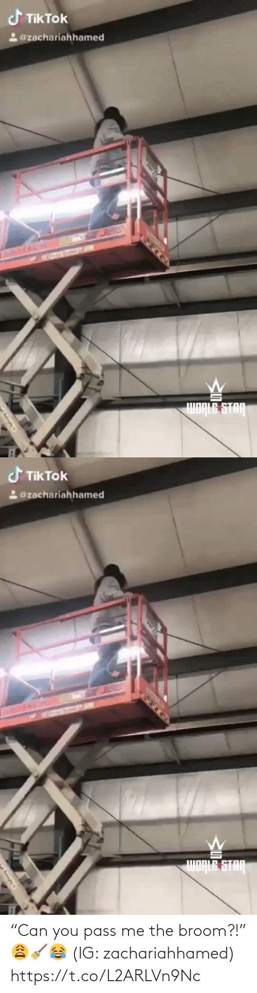 """pass: """"Can you pass me the broom?!"""" 😩🧹😂 (IG: zachariahhamed) https://t.co/L2ARLVn9Nc"""