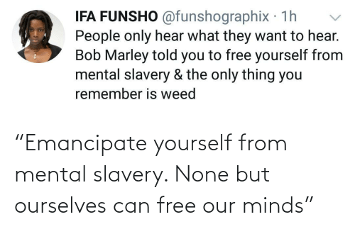 "Mental: ""Emancipate yourself from mental slavery. None but ourselves can free our minds"""