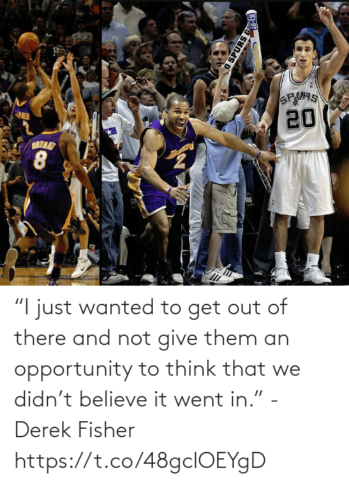 """Believe It: """"I just wanted to get out of there and not give them an opportunity to think that we didn't believe it went in."""" - Derek Fisher https://t.co/48gclOEYgD"""