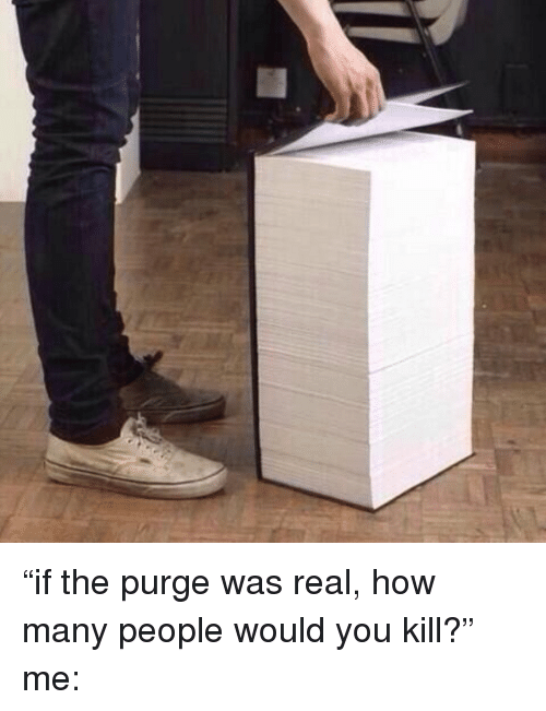 """The Purge: """"if the purge was real, how many people would you kill?"""" me:"""